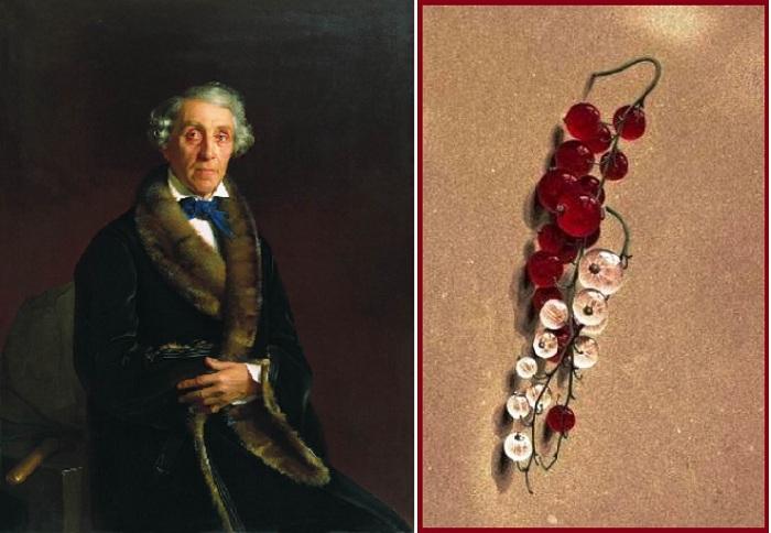 Портрет Л.П. Толстого. (1850). Автор: С.К.Зарянко. / Ягоды красной и белой смородины. (1818). Автор: Федор Толстой.