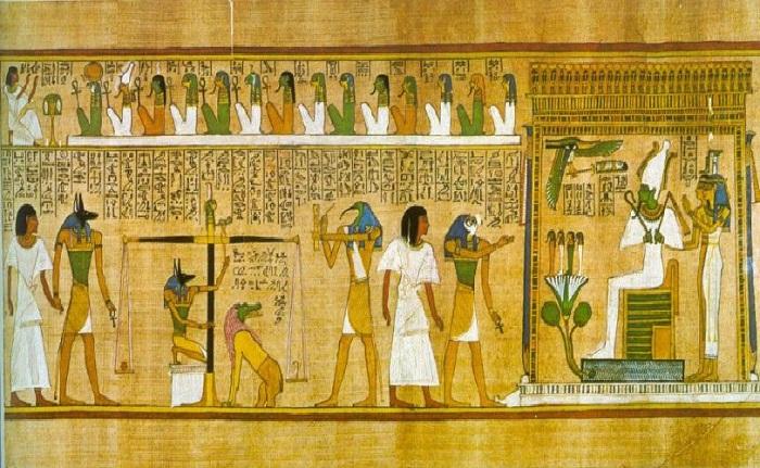 Страшный суд в Древнем Египте во главе с царем загробного мира - Осирисом.  Фото: artchive.ru.
