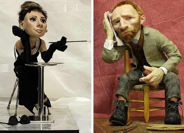«Одри Хепбёрн», «Винсент Ван Гог». Миниатюрные куклы от Владимира Волегова.