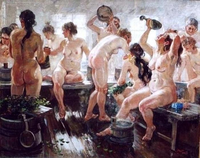 «В бане».(1938 год). Автор: А. Герасимов.