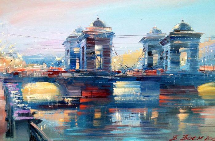 Вечерний Ломоносовский мост. Автор: Бэгги Боем.