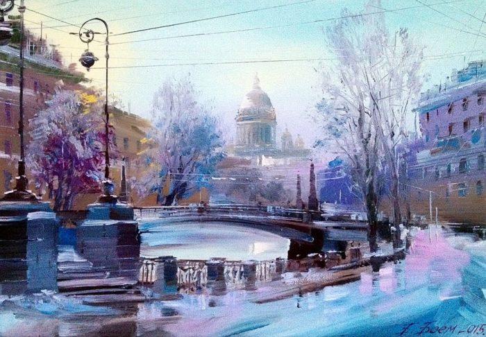 Мойка зимой. Поцелуев мост. Автор: Бэгги Боем.