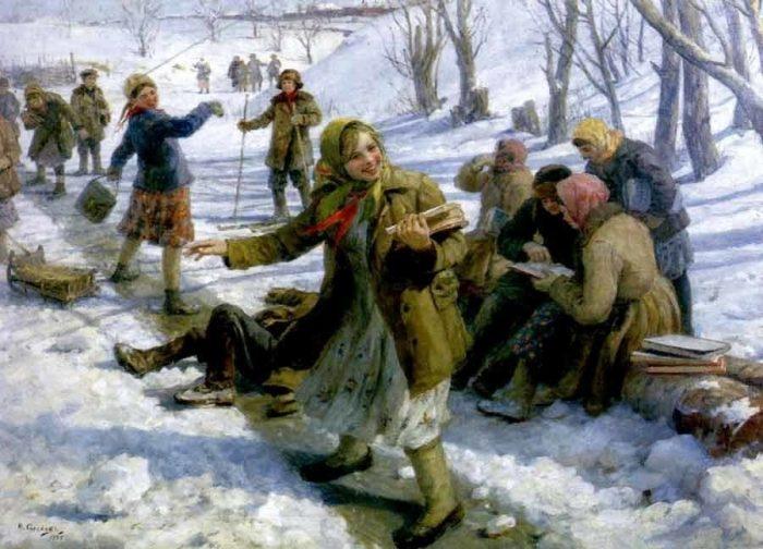 «Возвращение из школы». (1945). Автор: Федот Сычков.