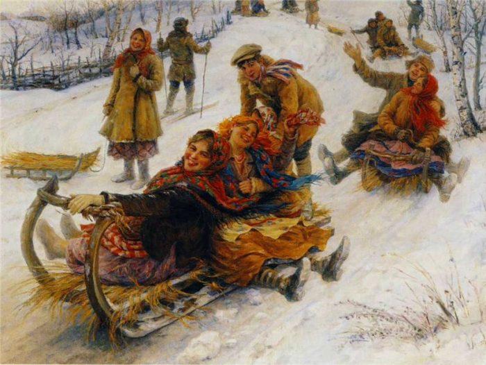 «Катания на Масленицу». Автор: Федот Сычков.