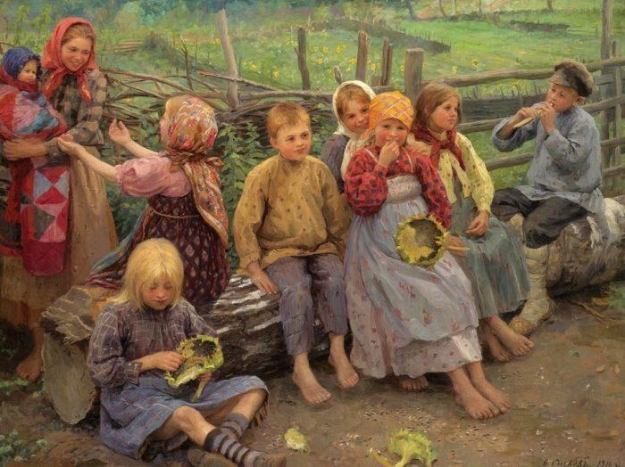 «Дети с подсолнухами». Автор: Федот Сычков.
