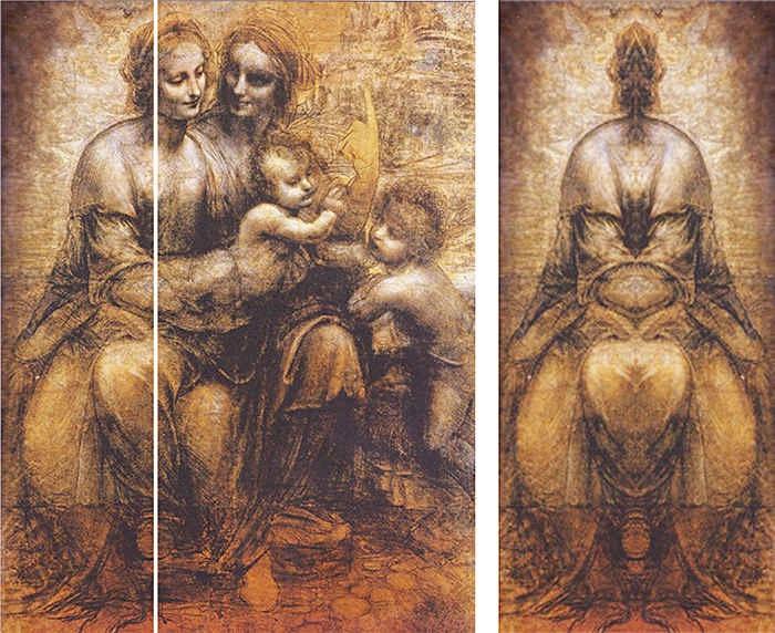 Зеркальный код Леонардо да Винчи «Святая Анна с Мадонной и младенцем Иисусом».