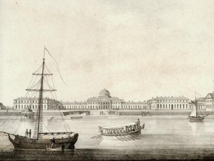 Литография.ТАВРИЧЕСКИЙ ДВОРЕЦ.1823 г.