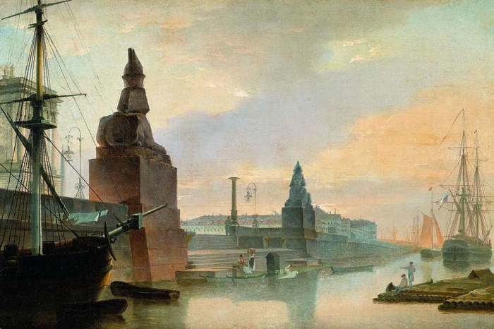 Набережная Невы у Академии художеств Рис. М.Н. Воробьев (1835 год)