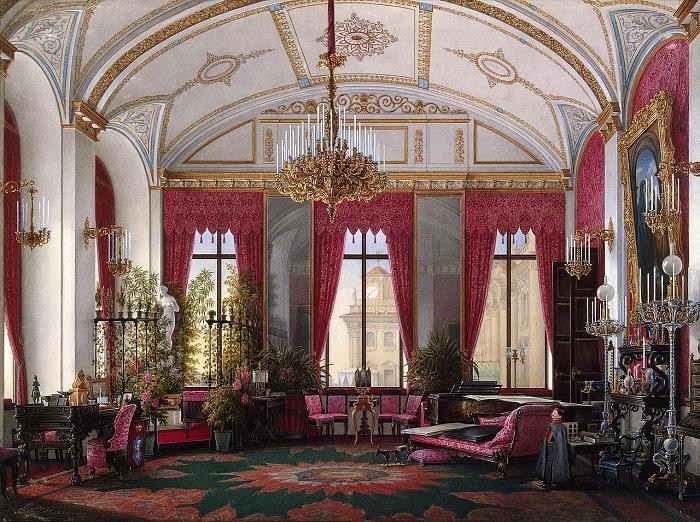 Малиновый кабинет императрицы Марии Александровны, акварель Э.П.Гау 40-е годы