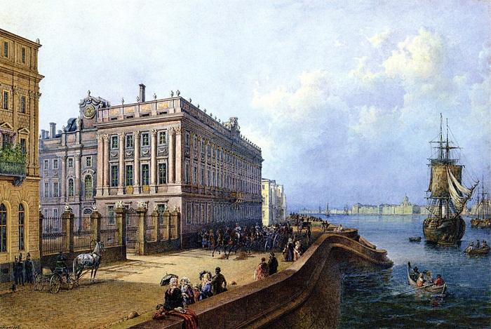 Садовников В. С. Набережная Невы у Мраморного дворца. 1847 год
