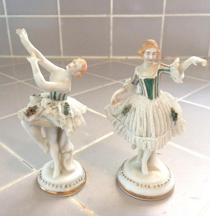 Antique Pair Porcelain Lace Ballet Figurines E&A Muller Volkstedt Dresden