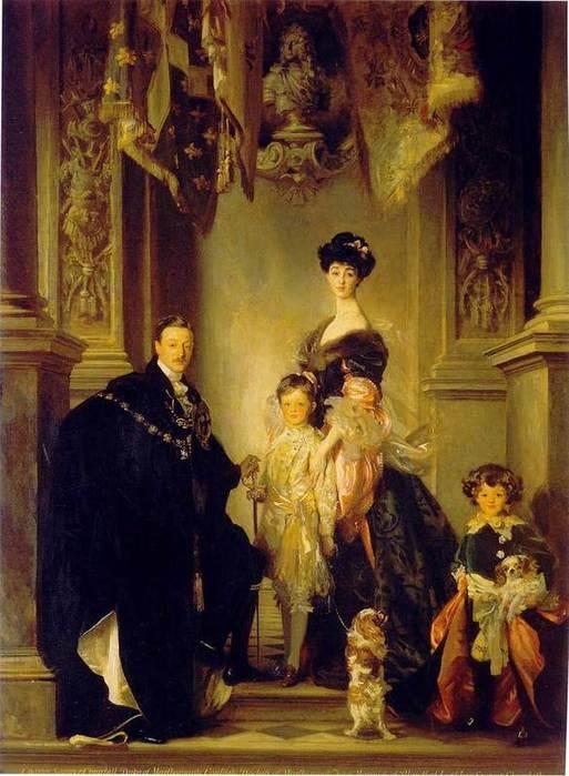 Портрет семьи герцога Мальборо на фоне интерьера дворца Бленхейм. Художник Джон Сингер Сарджент