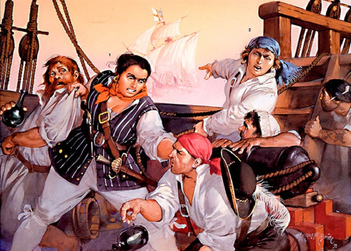 Энн Бонни и Мэри Рид разбираются с пиратами 1720 г.