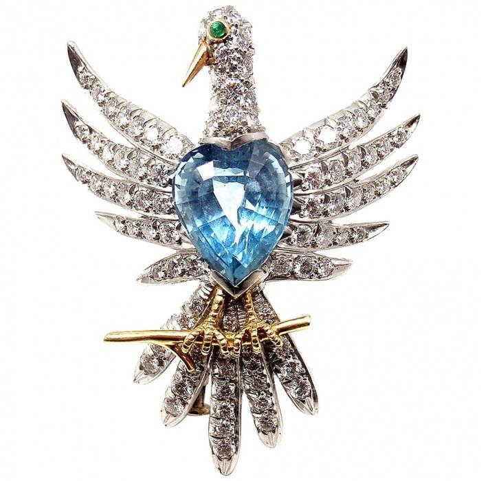 Брошь «Феникс». Платина, золото, аквамарины, бриллианты, изумруды