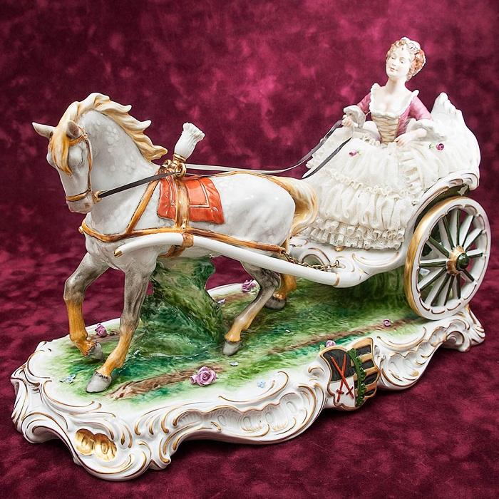 Большая Кружевная Фарфоровая Статуэтка «Прекрасная наездница», Unterweissbach
