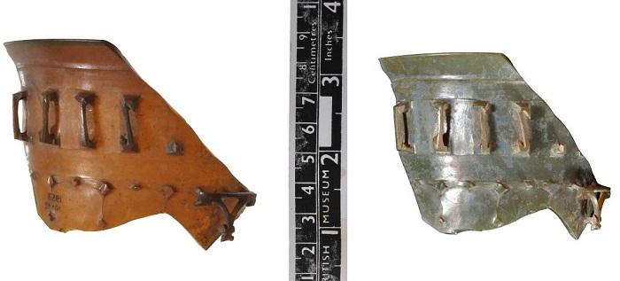Фрагмент римской диатреты в отраженном (слева) и проходящем свете. Длина 6,5 см, ширина 9 см. Британский музей. Фото с сайта britishmuseum.org