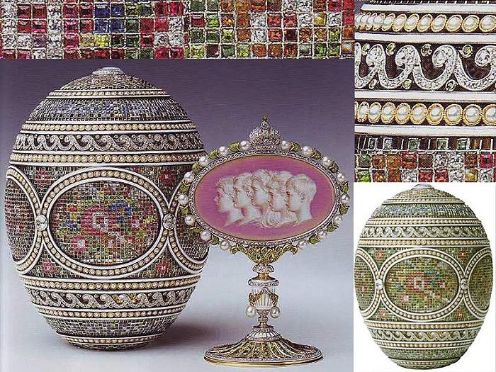 «Мозаичное яйцо», 1914 год. Подарок императрице Александре Федоровне от Николая II (собрание Королевы Елизаветы II, Великобритания)