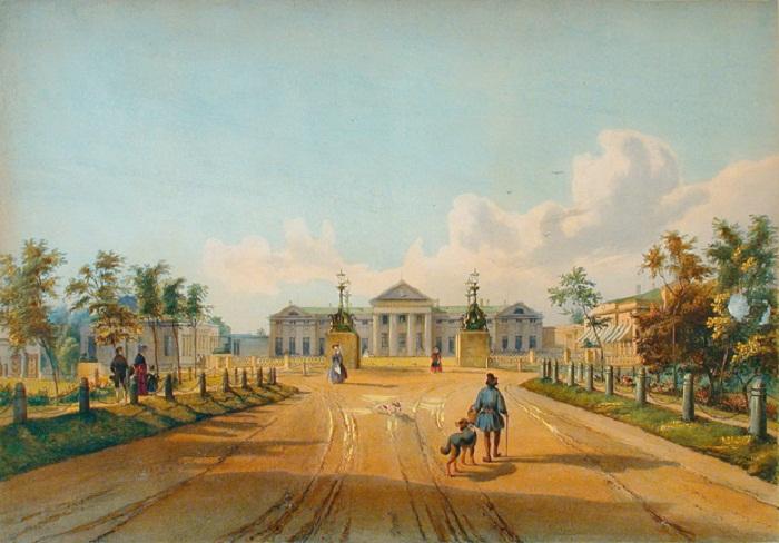 И.Н. Раух. Конец Липовой аллеи и дворец в Кузьминках