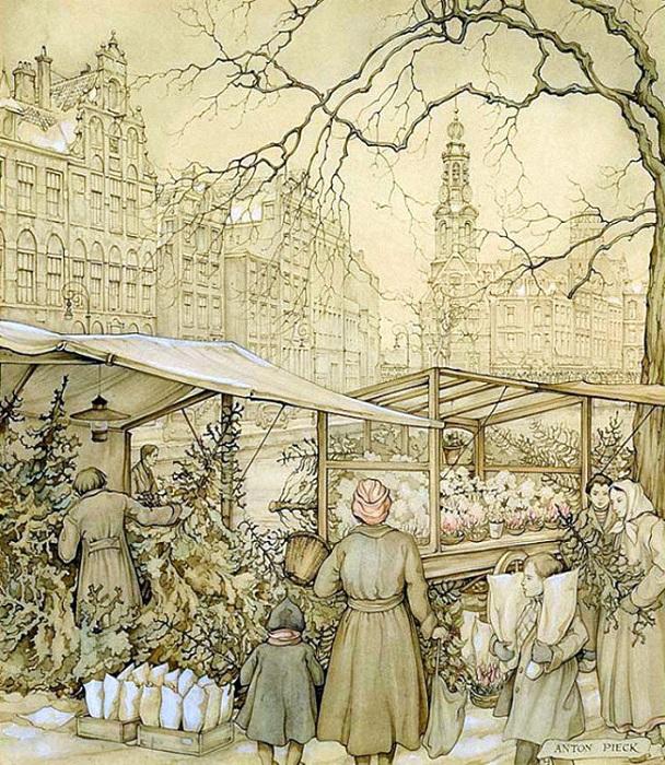 Городской цветочный рынок Амстердама в Рождество