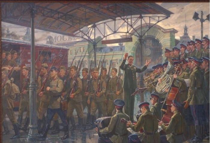 Белорусский вокзал. Ансамбль исполняет песню «Священная война».