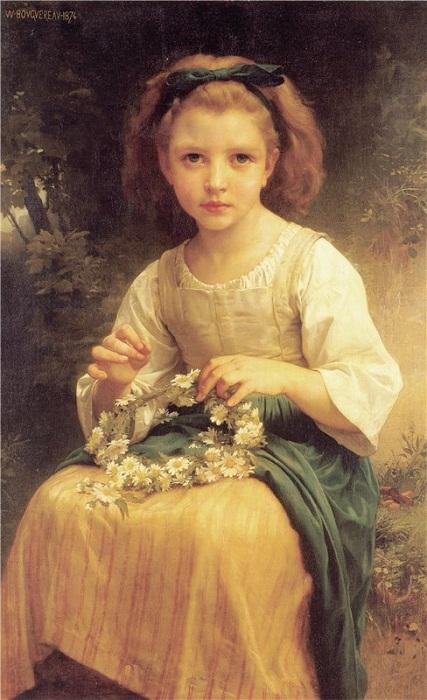 Девочка, плетущая венок. Вильям-Адольф Бугро, 1874