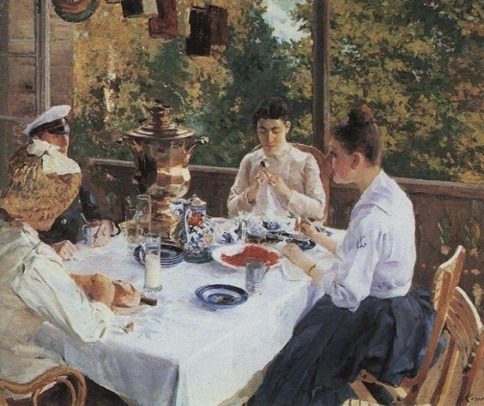 Константин Коровин «За чайным столом», 1888 год
