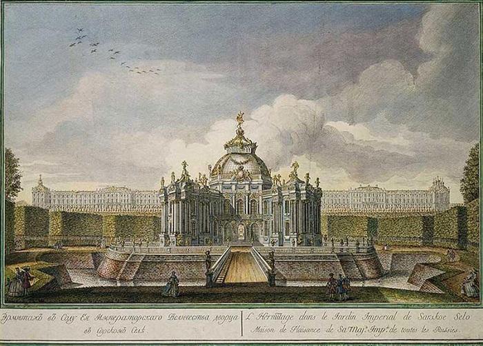 Павильон Эрмитаж в саду Царского Села, гравюра А.А.Грекова, 1760-е годы