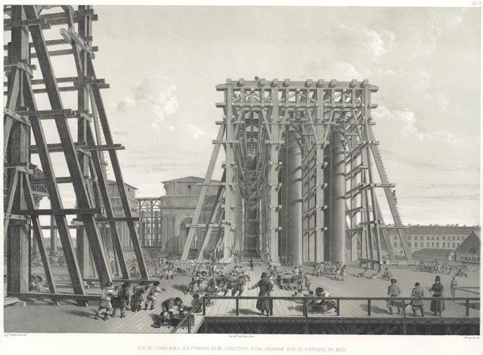 Установка колонн Исаакиевского собора