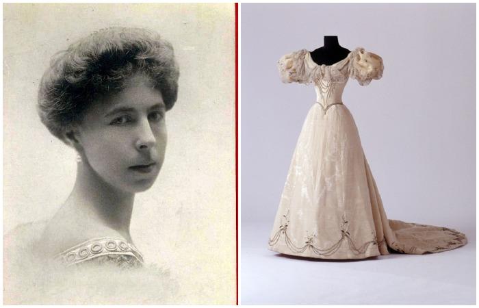 Александра Эдинбургская, дочь Марии Александровны и внучка Александра II. Ее свадебное платье 1896 года