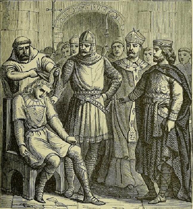 Король Пипин Короткий наблюдает за выстрижением головы свергнутого им с трона экс-короля Хильдерика III, высылаемого в монастырь