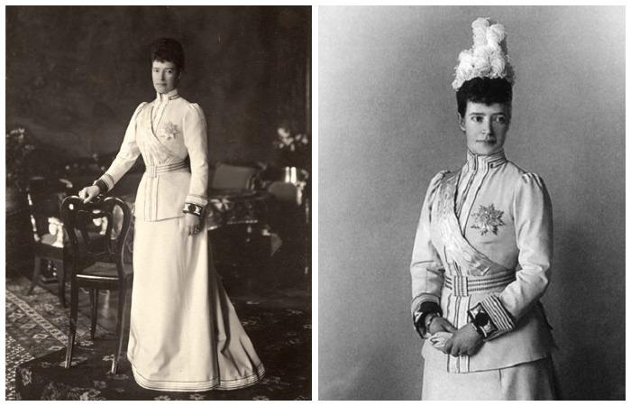 Императрица Мария Фёдоровна в мундирном платье лейб-гвардии Кирасирского Е. И. В. собственного имени полка. 1890-е.