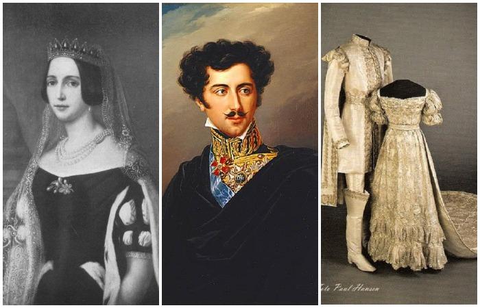 Жозефина Лейхтенбергская, будущая королева Швеции, Оскар Шведский и их свадебные костюмы 1823 года