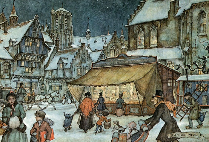 Городские сцены. Зимняя площадь