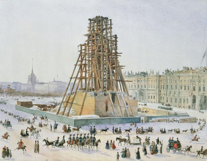Григорий Гагарин. Александрийская колонна в лесах. 1832