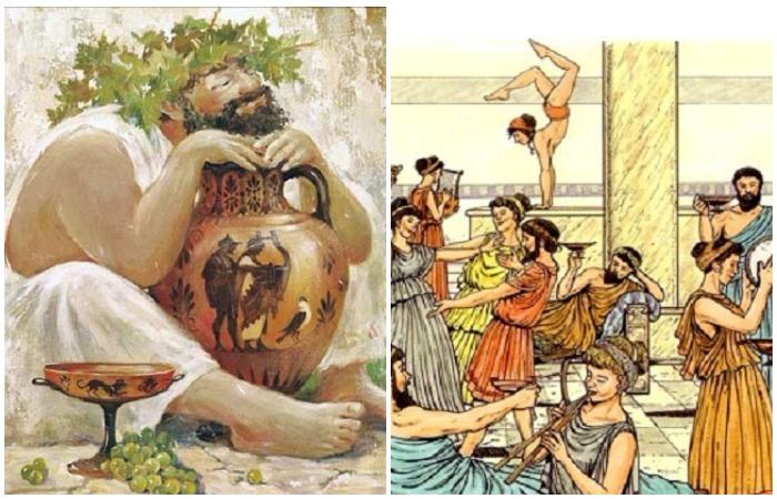 Пиры в Древней Греции. Слева картина Юрия Дубинина Бахус, 2003 г.