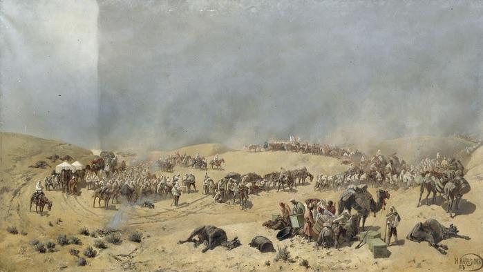 Хивинский поход 1873 г. Через мёртвые пески к колодцам Адам-Крылган (Каразин Н. Н., 1888)