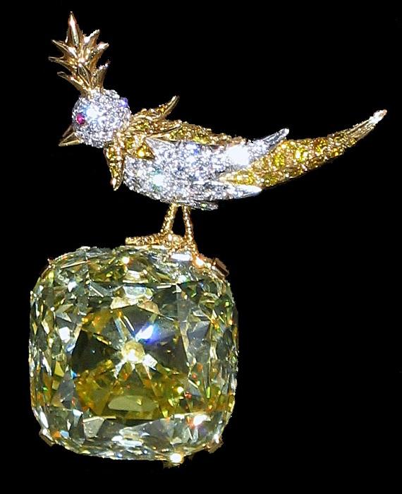 Оправа «Птица на скале» («Птица на камне»). Золото, платина, белые и желтые бриллианты, рубины