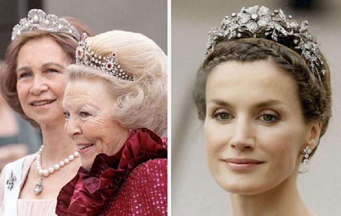 Испанская королева София, королева Нидерландов Беатрикс и королева Летисия в тиарах от Mellerio