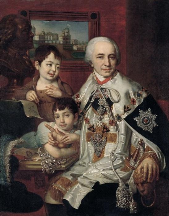 Портрет графа Григория Григорьевича Кушелева с детьми. 1801