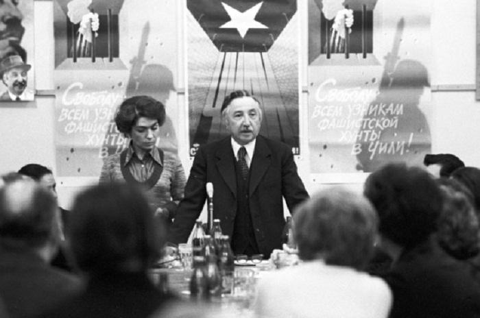 Генеральный секретарь ЦК Коммунистической партии Чили Луис Корвалан на встрече с журналистами. Фото: РИА Новости/ Юрий Абрамочкин