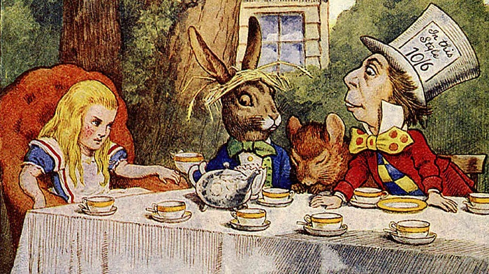Чаепитие в «Алисе в Стране чудес» Льюиса Кэрролла. Иллюстрация Дж. Тенниела к первому изданию сказки, 1865 год