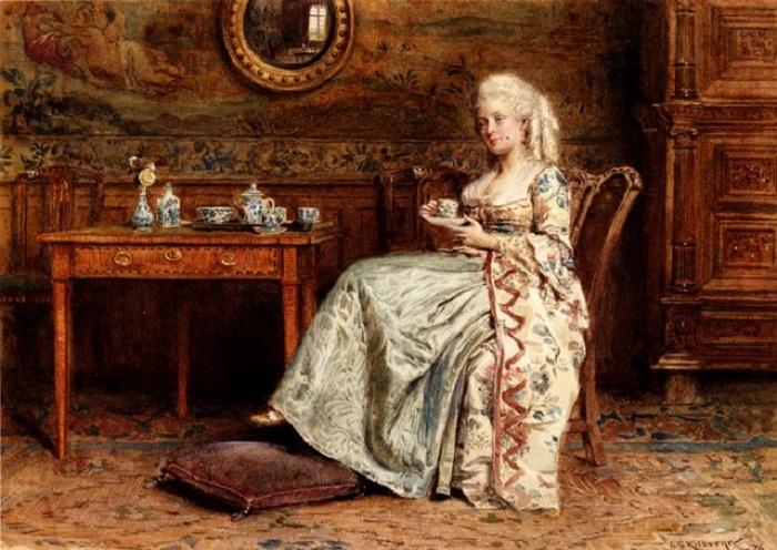 Чай в 17 веке   Kilburne George Goodwin Taking Tea