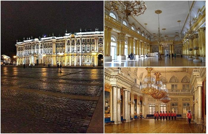 Парадные залы Зимнего дворца - в наше время и на рисунках художников XIX века