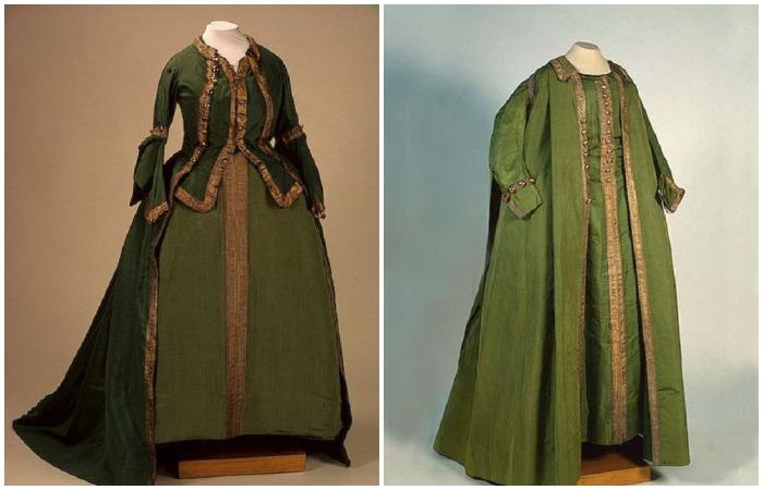 Мундирные платья Екатерины II по форме лейб-гвардии Преображенского полка, сшитые в 1763 году и после 1785 года