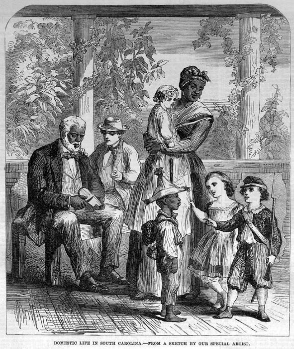 Домашние слуги с детьми своих господ (штат Южная Каролина, 1863 год)