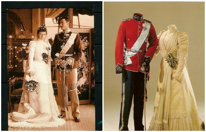 Александрин Мекленбург-Шверинская, будущая королева Дании, её жених Кристиан Датский 1898 год. Свадебные костюмы, находятся в Амалиенборгском музее
