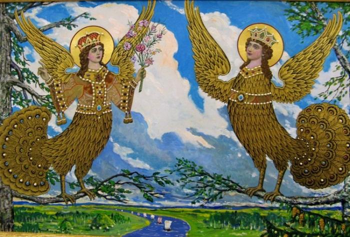 «Райские птицы Древней Руси Сирин и Алконост», И.С. Глазунов 2010 год