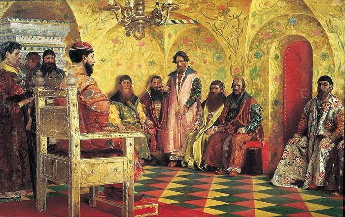Рябушкин А. Сидение царя Михаила Фёдоровича Романова с боярами
