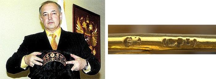 Артем Тарасов с короной. Справа - клеймо ювелирного дома «К.Э. Болин» на короне