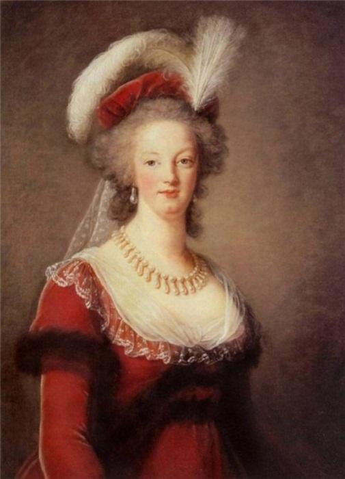 Портрет Французской Королевы Марии Антуанетты в жемчужном ожерелье и серьгах. Элизабет Виже 1788 г.